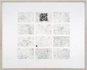 <p>DELETHE Visitenkarten Nr. 2</p><p> </p><p>2014<br />set of twelve business cards of paper with QR code, metal abrasion<br />framed 38,3 x 46,6 cm</p>