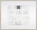 <p>DELETHE Visitenkarten Nr. 3</p><p> </p><p>2014<br />set of twelve business cards of paper with QR code, metal abrasion<br />framed 38,3 x 46,6 cm</p>