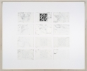 <p>DELETHE Visitenkarten Nr. 5</p><p> </p><p>2014<br />set of twelve business cards of paper with QR code, metal abrasion<br />framed 38,3 x 46,6 cm</p>
