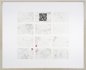 <p>DELETHE Visitenkarten Nr. 6</p><p> </p><p>2014<br />set of twelve business cards of paper with QR code, metal abrasion<br />framed 38,3 x 46,6 cm</p>
