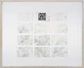 <p>DELETHE Visitenkarten Nr. 13</p><p> </p><p>2014<br />set of twelve business cards of paper with QR code, metal abrasion<br />framed 38,3 x 46,6 cm</p>